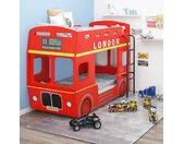 vidaXL Stapelbed Londense bus MDF rood 90x200 cm