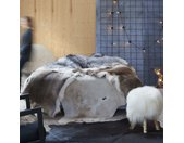 vidaXL Vloerkleed 150x170 cm echte runderhuid bruin en wit