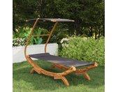 vidaXL Hangmat met luifel 100x198x150 cm gebogen hout antracietkleurig