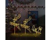 vidaXL Kerstdecoratie rendieren en slee 260x21x87 cm acryl warmwit