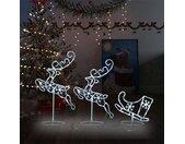 vidaXL Kerstdecoratie rendieren en slee 260x21x87 cm acryl koudwit