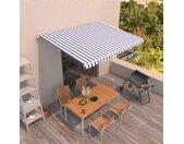 vidaXL Luifel handmatig uittrekbaar 400x350 cm blauw en wit