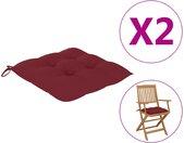 vidaXL Stoelkussens 2 st 40x40x7 cm stof wijnrood