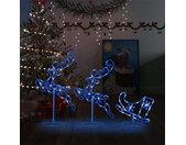 vidaXL Kerstdecoratie rendieren en slee 260x21x87cm acryl blauw