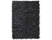 vidaXL Tapijt shaggy hoogpolig 80x160 cm echt leer grijs