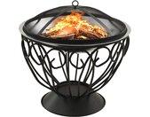 vidaXL Vuurplaats en barbecue 2-in-1 met pook 59x59x60 cm rvs