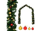vidaXL Kerstslinger versierd met kerstballen en LED-lampjes 5 m