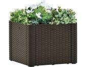 vidaXL Plantenbak hoog met zelfbewateringssysteem 43x43x33 cm mokka