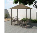 vidaXL Tuinpaviljoen met tafel en bankjes 180 g/m² 2,5x1,5x2,4 m taupe