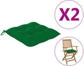 vidaXL Stoelkussens 2 st 40x40x7 cm stof groen