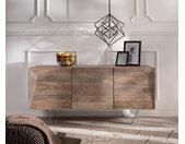 Designer-dressoir Wyatt 150 cm sheesham natuur 3 deuren van roestvrij staal