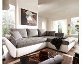 Hoekbank Loana 275x185 wit grijs variabele slaapfunctie