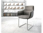 Eetkamerstoel Pejo-Flex grijs vintage sledemodel rond roestvij staal