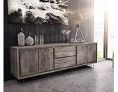 TV-meubel Live-Edge 200 cm acacia platina 4 deuren 2 lades 2 glazen poten