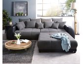 Big-Sofa Violetta 310x135 cm zwart met hocker