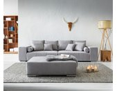 XXL-bank Marbeya 285x115 cm grijs met Kruk XXL sofa